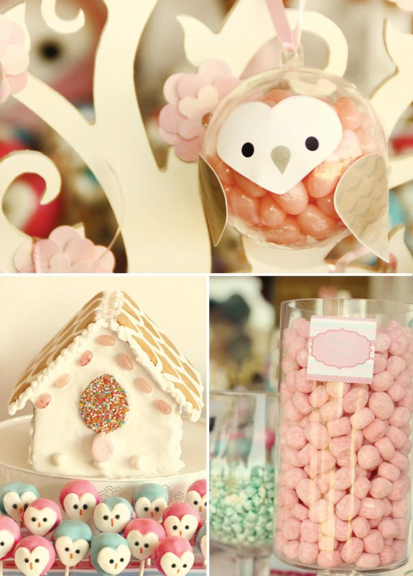 owl love dessert table bird house cake and candy