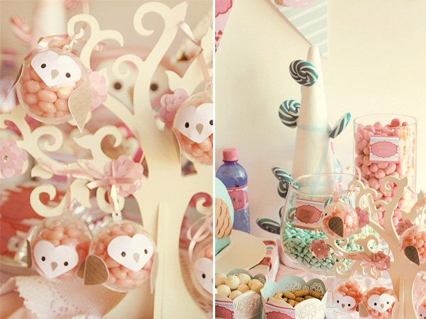 owl love dessert table ornaments in pink and blue