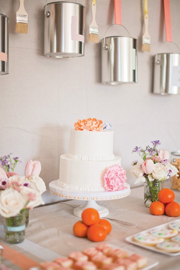 pastel art party cake with pink and orange fondant peonies