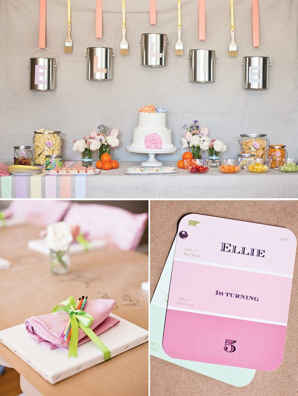 pastel art party dessert tables and paint chip invitations