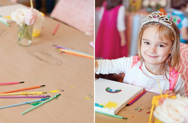 pastel art party kids painting activity and kraft paper table cover