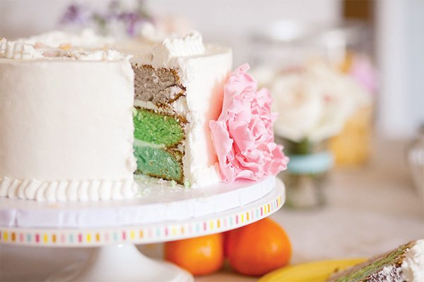 pastel art party rainbow cake with fondant pink peonies