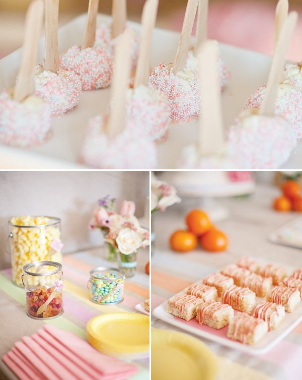 pink and white cake pops, pink rice krispy treats, snacks in paint cans