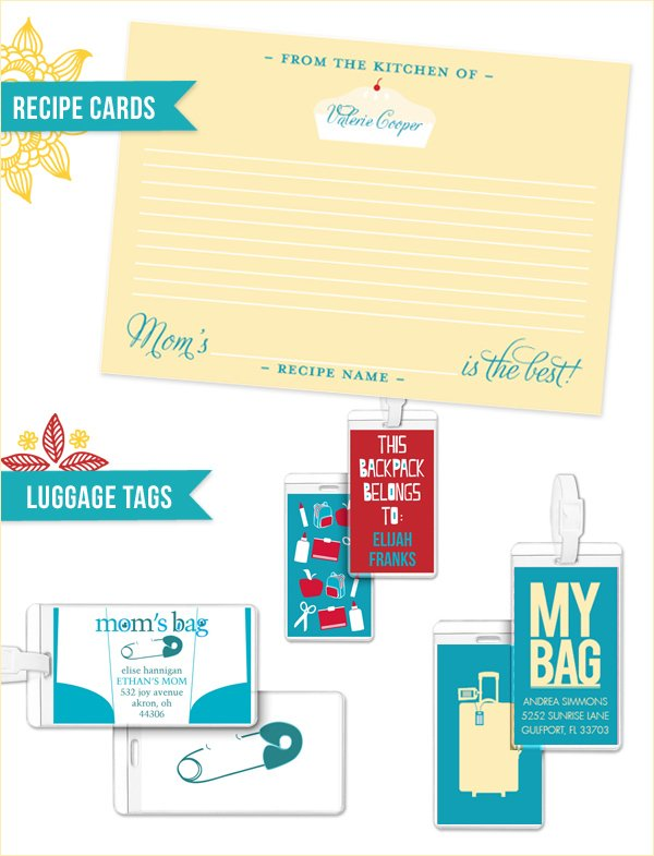 personalized recipe cards and gift tags
