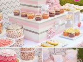 pink and grey first communion party