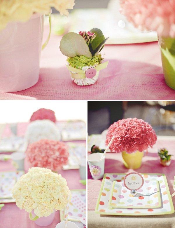 pink hula hoop party flowers