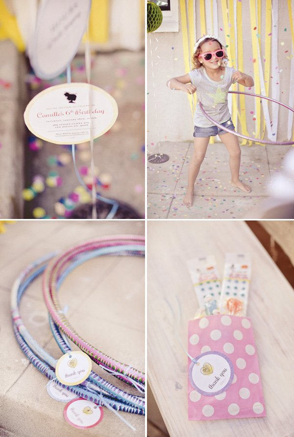 pink hula hoop birthday party