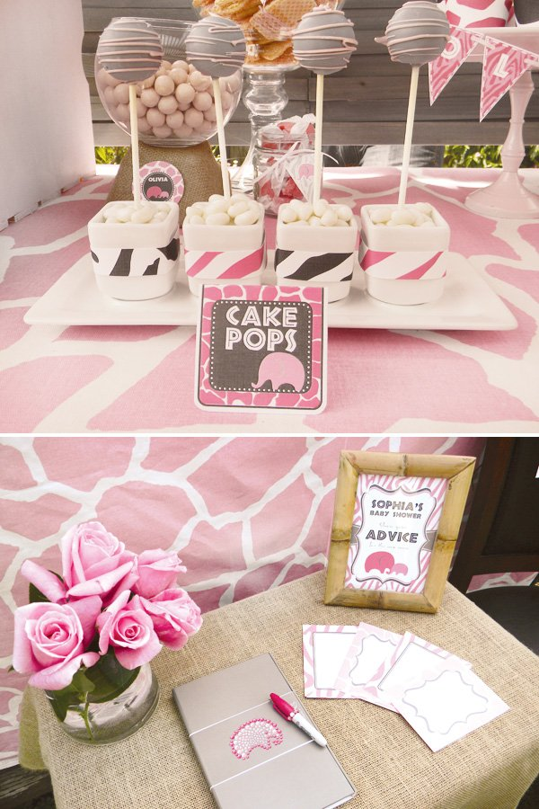 pink safari baby shower cake pops