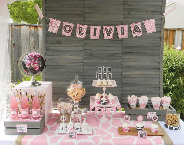 pink safari baby shower dessert table