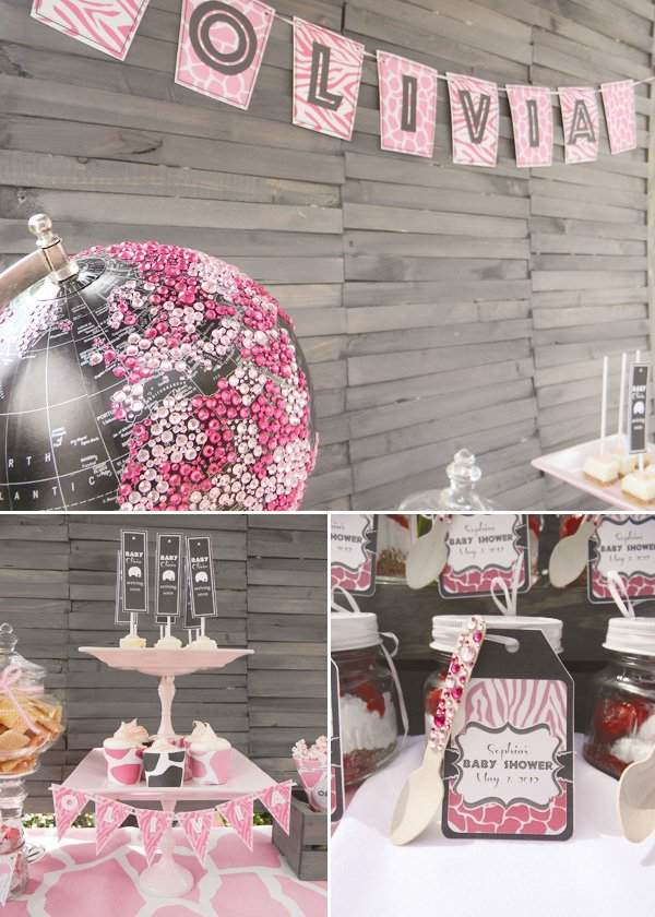pink safari baby shower glitter globe