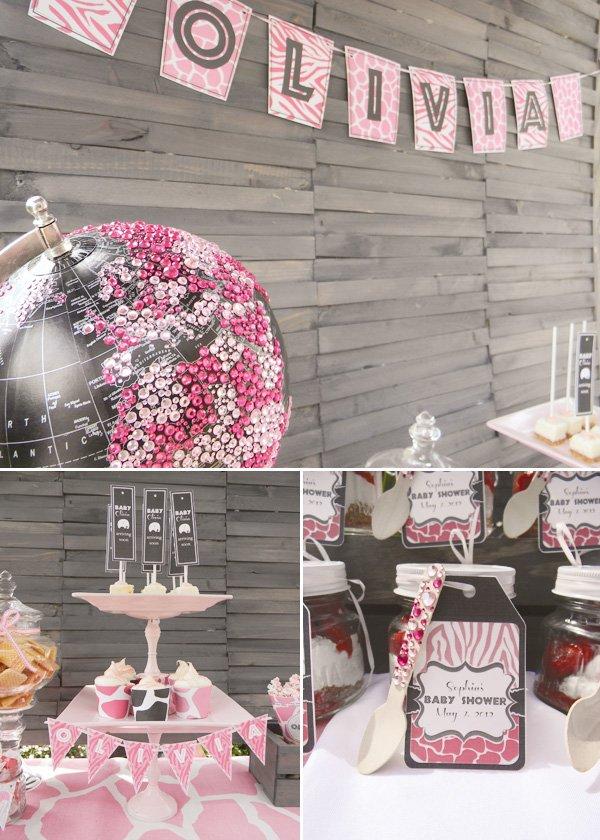 pink safari baby shower glitter globe