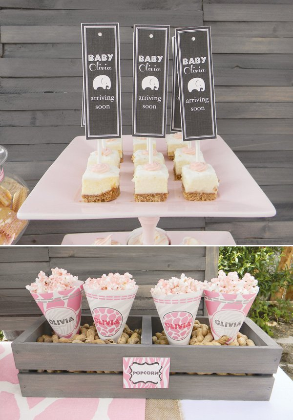 pink safari baby shower popcorn and peanuts