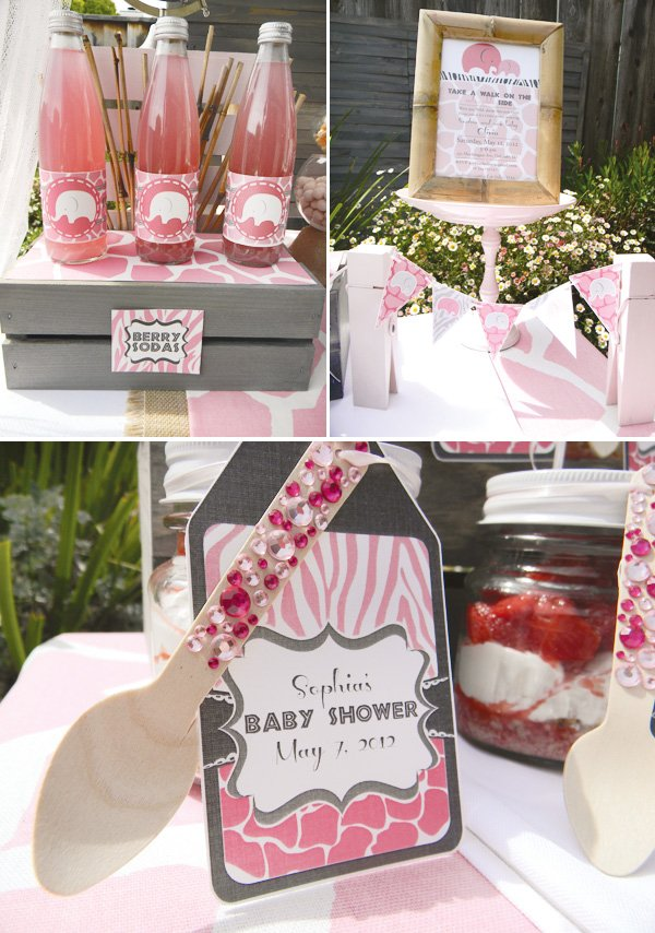 pink safari baby shower rhinestone favors