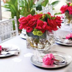 pink silver bridal shower table centerpieces