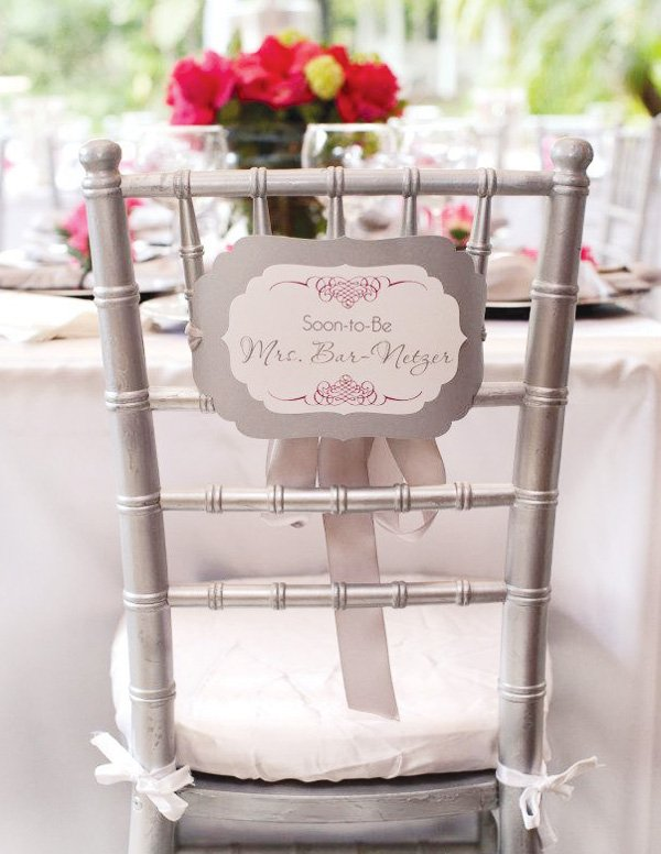 pink silver bridal shower reserved chair sign