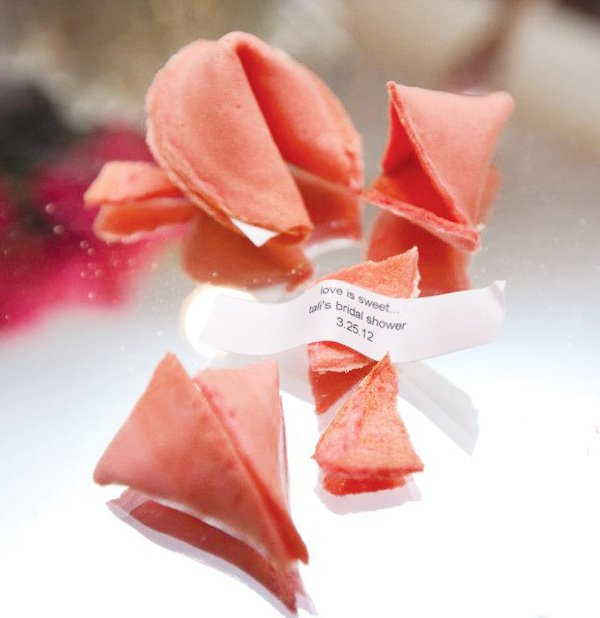 pink silver bridal shower fortune cookie