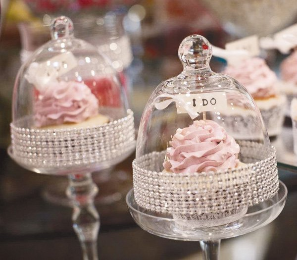 pink and silver bridal shower cupcake with I Do toppers