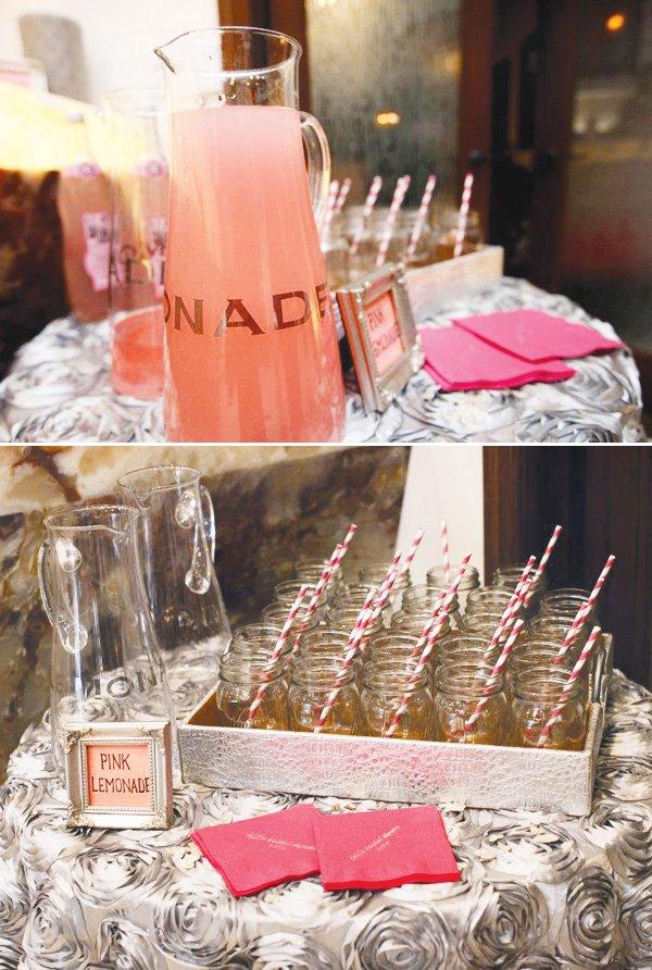 pink silver bridal shower lemonade station