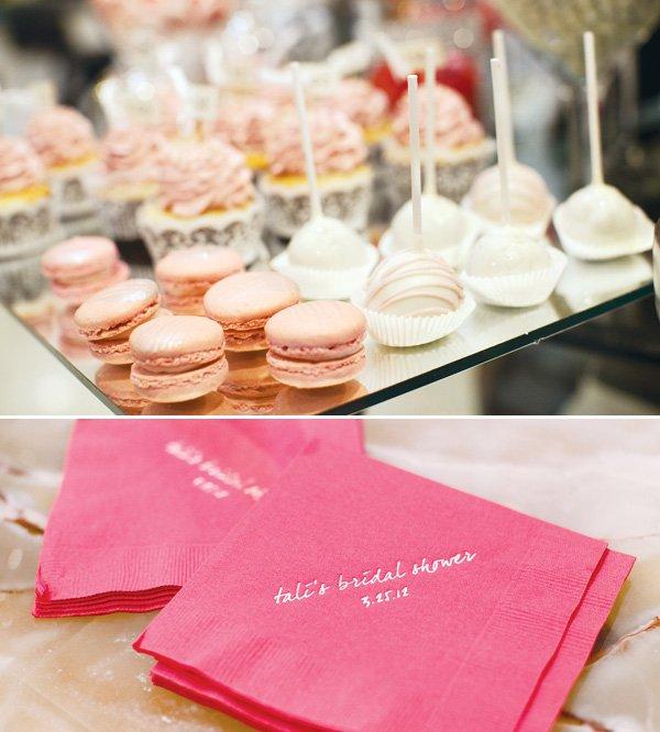 pink silver bridal shower custom pink napkin