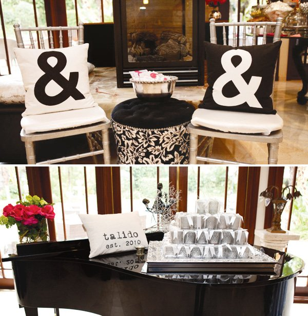 pink silver bridal shower ampersand black and white pillows