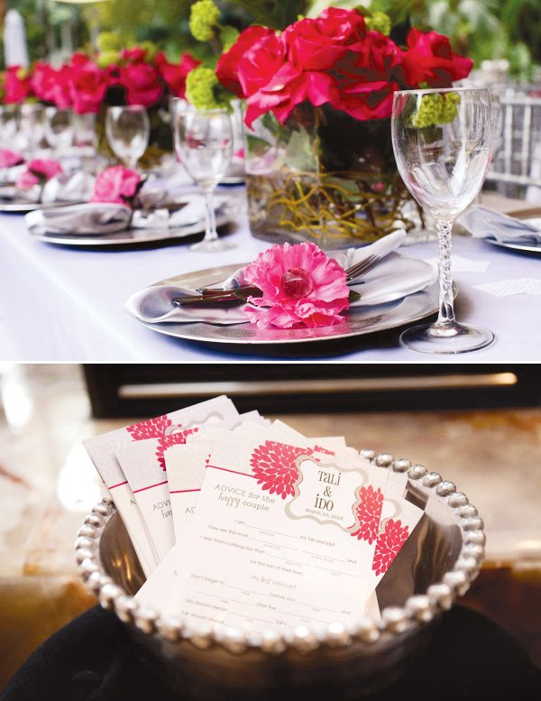 pink silver bridal shower place setting