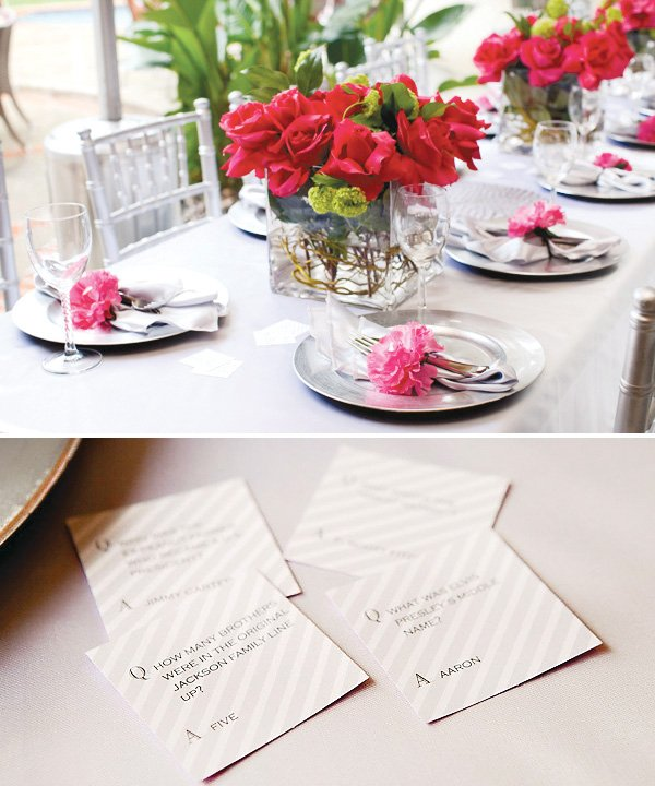 pink and silver bridal shower with flower napkin rings and questions game