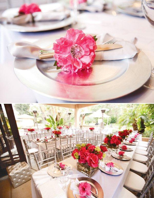 pink silver bridal shower silverware flower