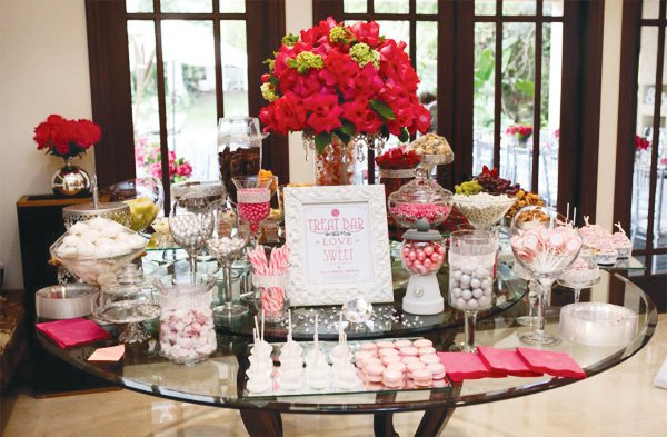 pink silver bridal shower sweets table