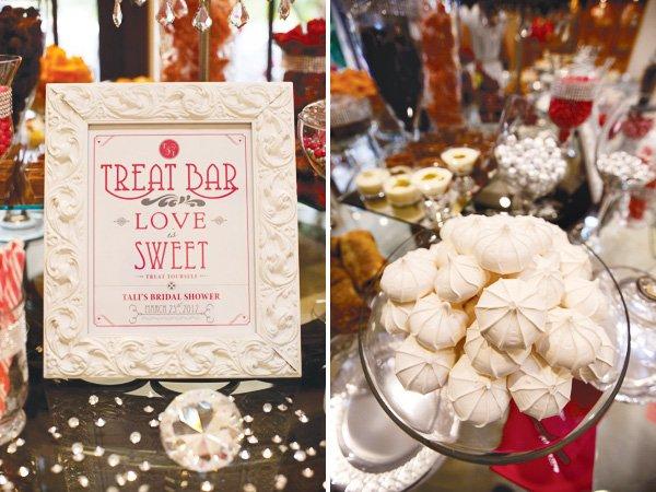 pink silver bridal shower treat bar