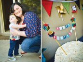 pinwheels and polka dots first birthday party and cake bunting