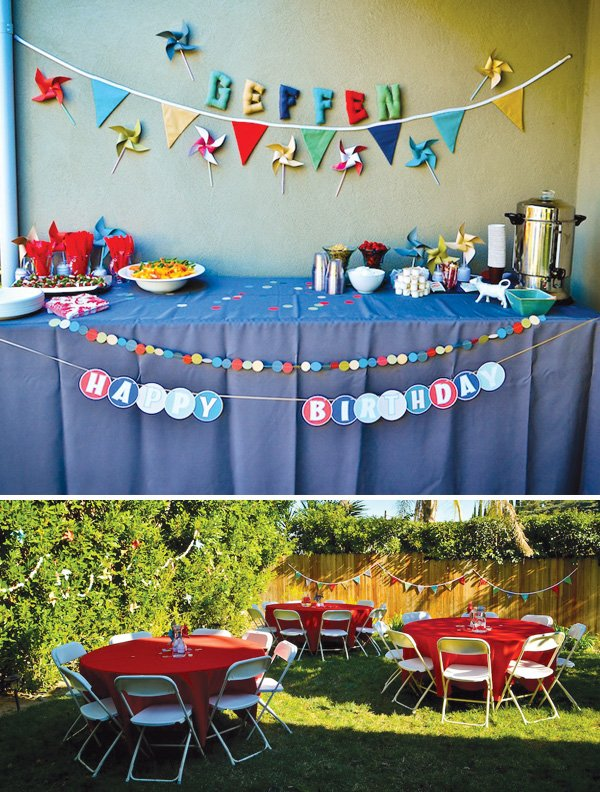 modern pinwheels and polkadots birthday party decorations