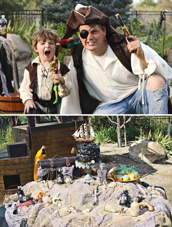 pirate birthday party costumes and the dessert table