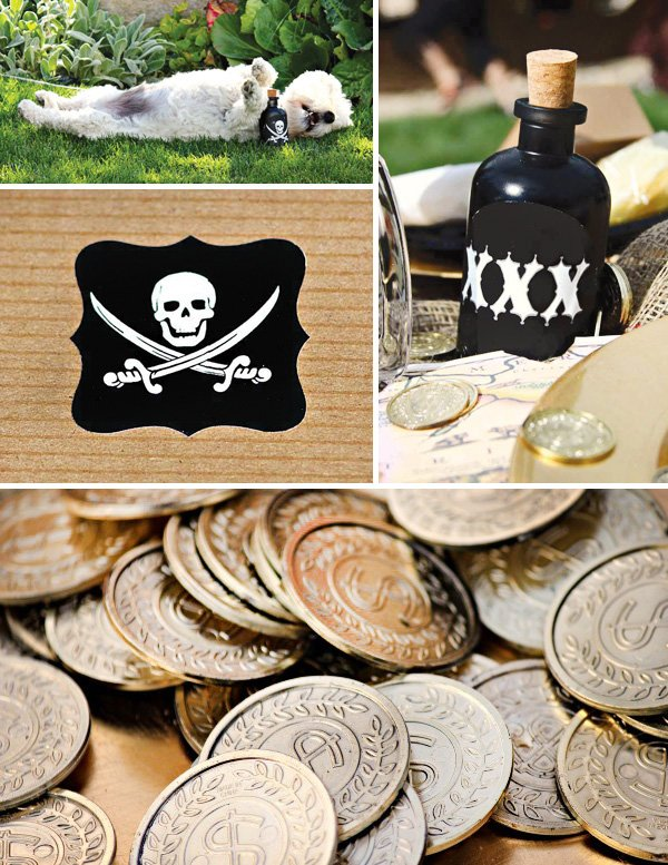 pirate birthday party coins and poison bottle decorations