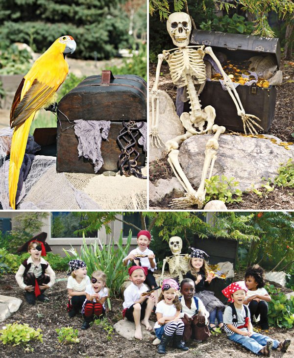 pirate birthday party pictures with a parrot and skeleton