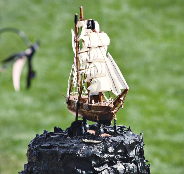 pirate birthday party black ship cake