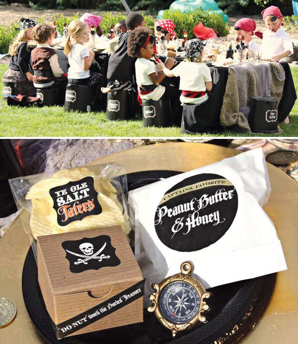 pirate birthday party kids table and lunch packages