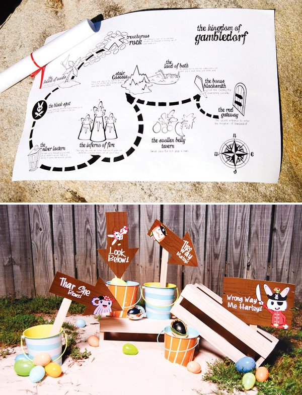 easter pirate bunny party treasure map