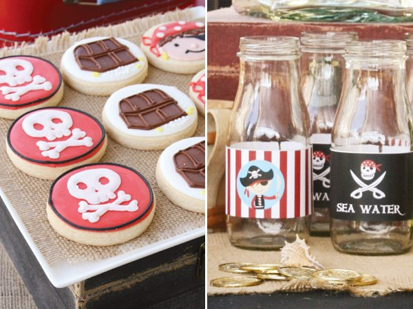pirate party drink labels and skull and cross bones cookies
