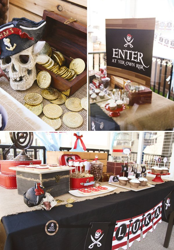 pirate party welcome sign and gold coins