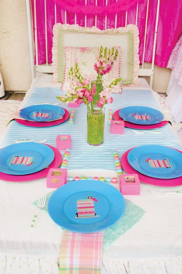 princess and the pea birthday party bed table