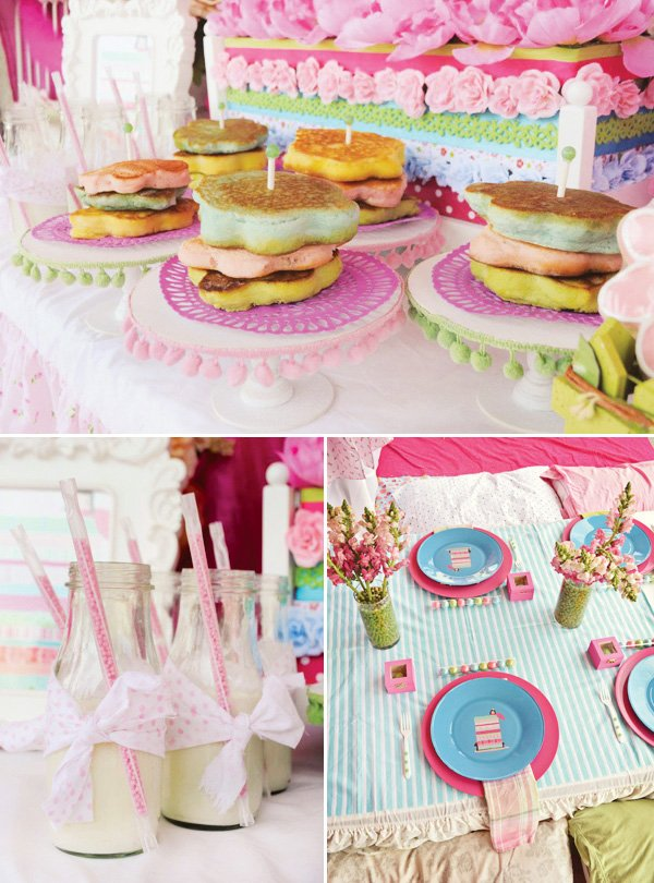 princess and the pea birthday party food and kids table