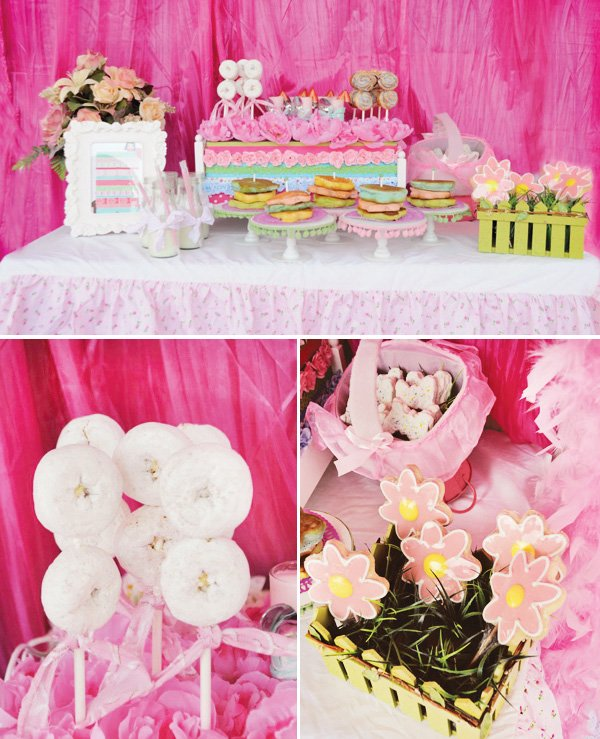 princess and the pea party breakfast buffet with donut skewers and flower cookies