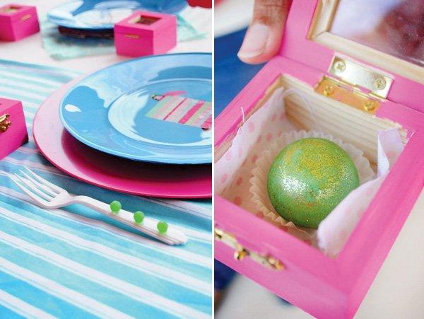 princess and the pea favors - glitter truffle peas - and place settings