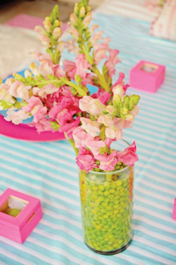 princess and the pea party centerpiece - pink snapdragons and peas