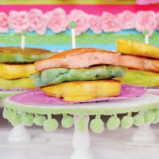princess and the pea party rainbow pancakes