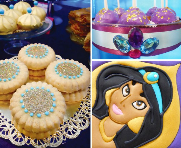 princess jasmine birthday party cookies and jewels