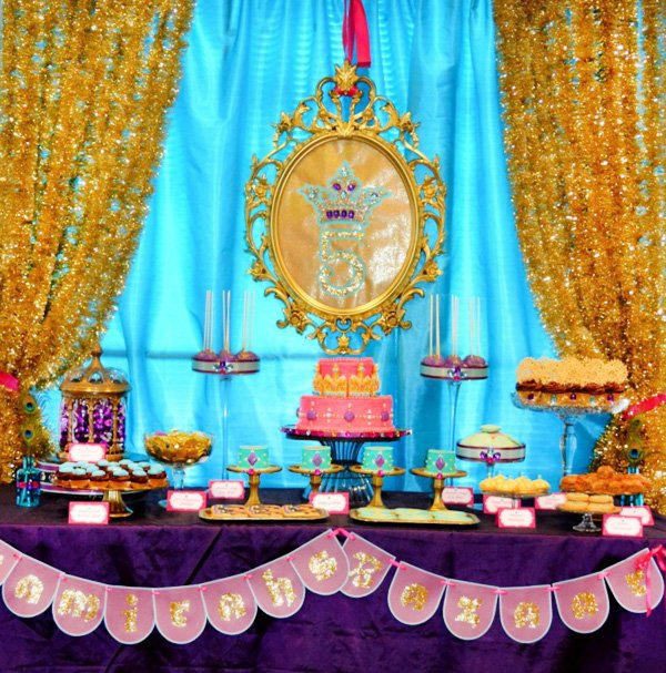 princess jasmine birthday party dessert table