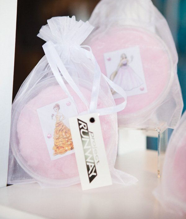 project runway party with cotton candy favors