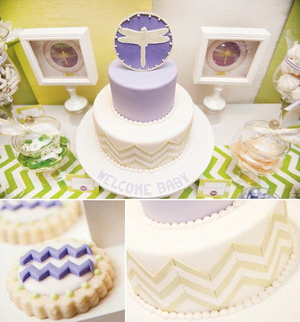 Lilac Dragonfly Baby Shower With A Purple And Green Chevron Cake