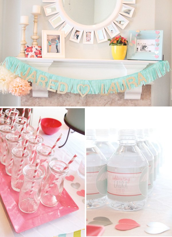 rain shower party bridal shower gold and aqua banner
